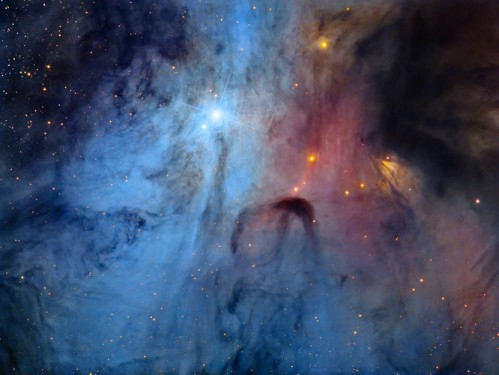 The rarely imaged core of the multiple star system, Rho Ophiuchi. A deep exposure showcases the whirling clouds, in an area the human eye would struggle to see much detail, even with the use of a telescope.